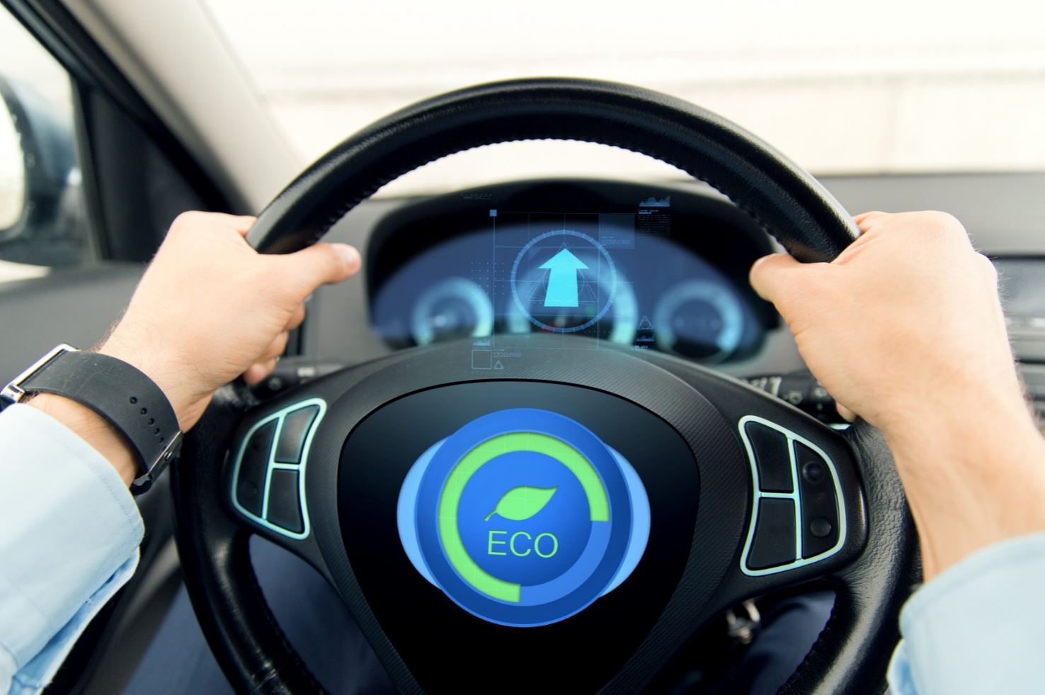 Eco sign on a steering wheel.